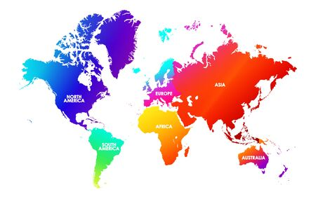 Colorfulness saturation world map, each continent in different trendy bright gradient colors and name blank for design