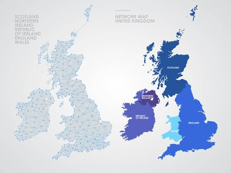 Telecommunications network of the British Isles, Abstract United Kingdom map polygonal geographic map, Political map of Great Britain and Ireland blank for design