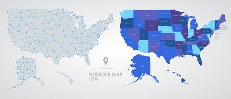 Telecommunications network of the USA, Abstract mesh polygonal geographic map, detailed map of the states of America blank for design