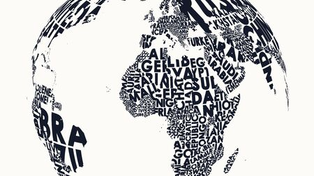 Typographic illustration of a world map with names of countries on a sphere, graphic vector print blank for design