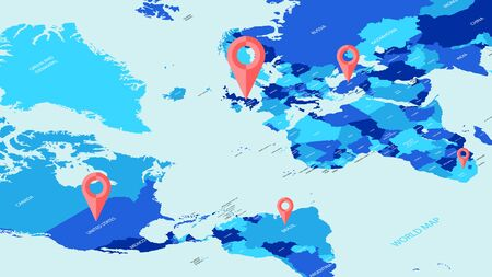 Vector isometric world tourist map, mark on the world navigation blank for design Çizim