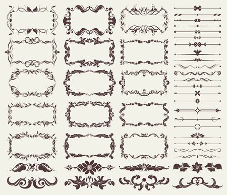 ensemble d'éléments décoratifs pour bordures, cadres, séparateurs, pour la conception vierge pour la conception