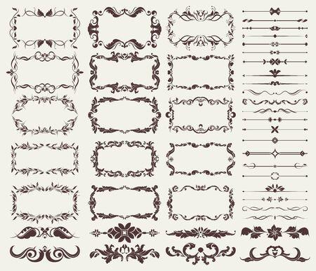 set of decorative elements for borders, frames, dividers, for design blank for design