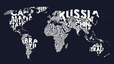 World map text composition of country names, typographical black and white illustration blank for design
