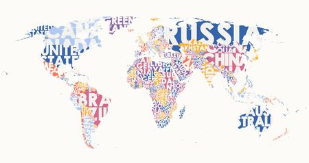 World map text composition, name of countries in color territories, Typographic illustration blank for design