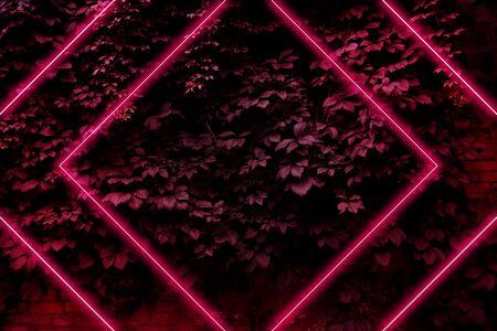 Resplandor rojo neón brillante, fondo futurista en estilo retro de los años 80 y 90, líneas brillantes de láser sobre un fondo de hojas