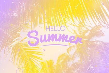 Hello summer holiday and summer time poster, vintage toned and stylized, tropical gradient background