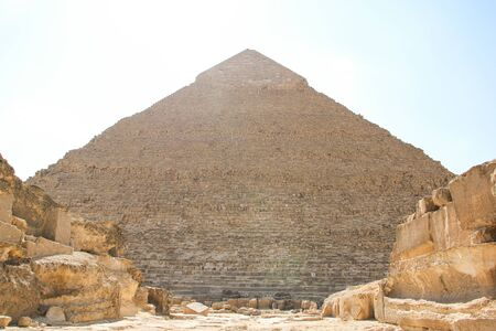 Great pyramid of Pharaoh Khafre, and the ruins of the architectural complex of Giza, Cairo surroundings