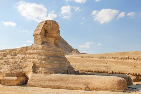 The great Sphinx at the Giza pyramids complex, architectural monument in Egypt