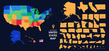 Detailed map of the USA, each state is signed and highlighted, the states are located on the largest territory, Colorful infographic of the United States of America, vector illustration