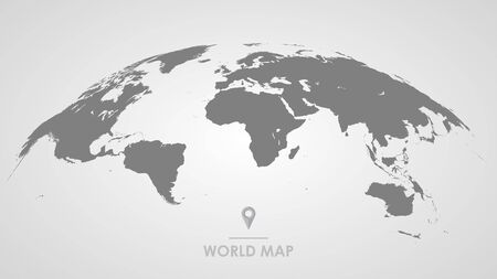 3d silhouette of a global world map, sphere with continents and islands of the world monochrome illustration