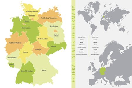 Detailed color vector map of the federal states of Germany with the location on the maps of the world and Europe Çizim