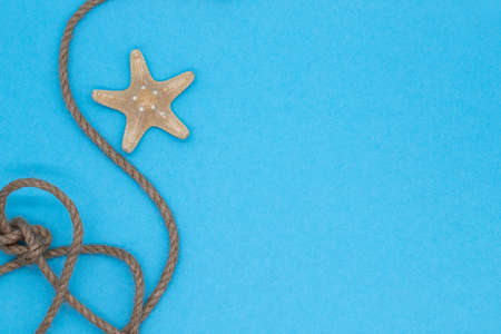 Blue background with starfish and rope knot