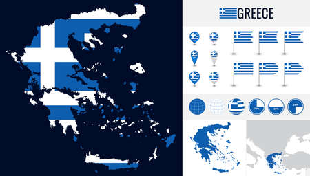 Vector map of Greece with flag and icons on white background