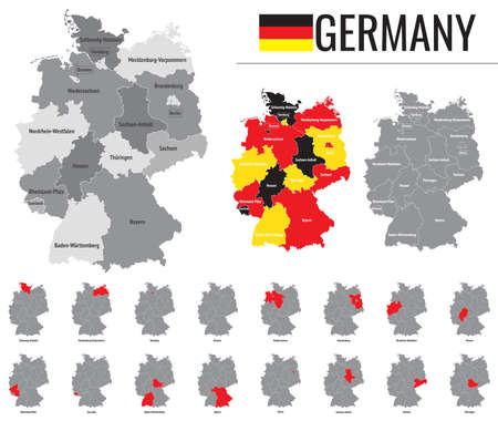 Detailed vector map of federal states of Germany with flag Ilustração