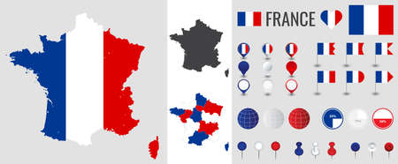 France vector map with flag, globe and icons on white background