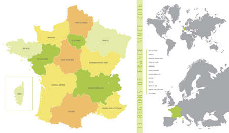 Detailed color vector map of 13 regions of France from 2016 with location on maps of the world and Europe Illustration