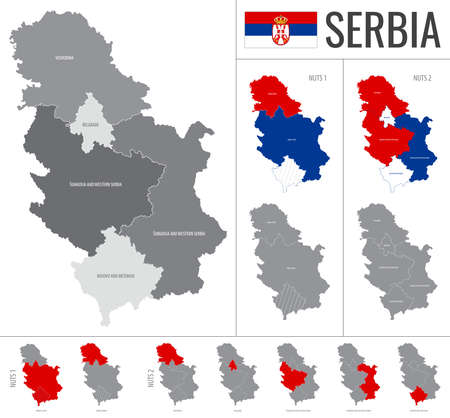 Detailed vector map of Serbia regions with country flag