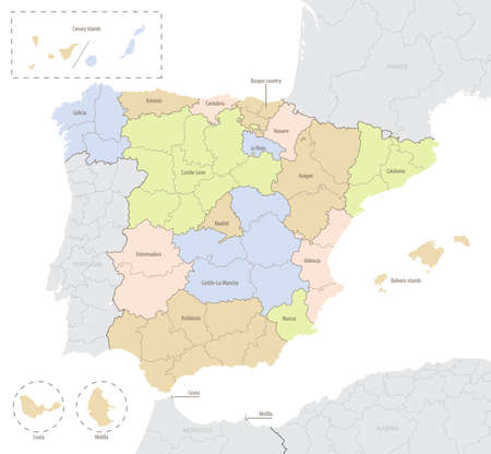 Detailed vector map of Spain with administrative divisions into autonomous communities and islands, vector illustration with the location of the country in Europe