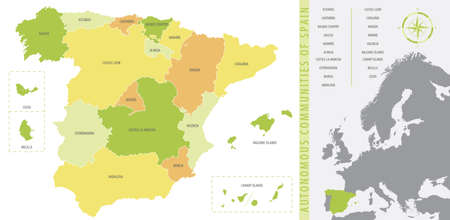 Detailed vector map of Spain, with administrative divisions into Autonomous Communities and Islands
