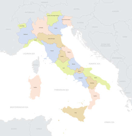Location map of Italy in Europe with administrative divisions of the country, detailed vector illustration