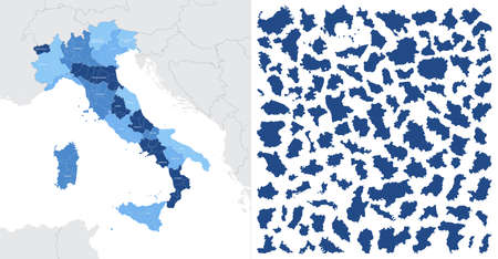 Detailed, vector, blue map of Italy on white background with administrative divisions into regions of the country
