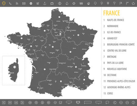 Detailed monochrome map of France, gray country territory with geographical borders and administrative divisions on a white background. Illustration