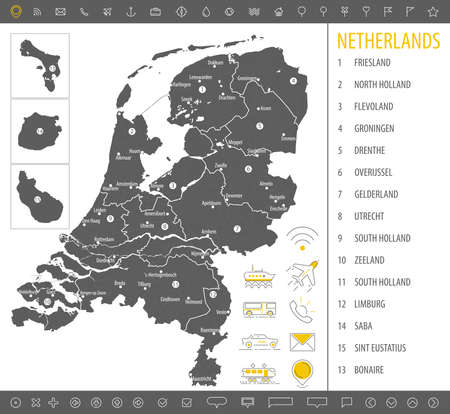 Detailed monochrome map of Netherlands, gray country territory with geographic borders and administrative divisions on white background.