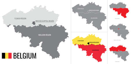 Detailed vector map of regions of Belgium with flag