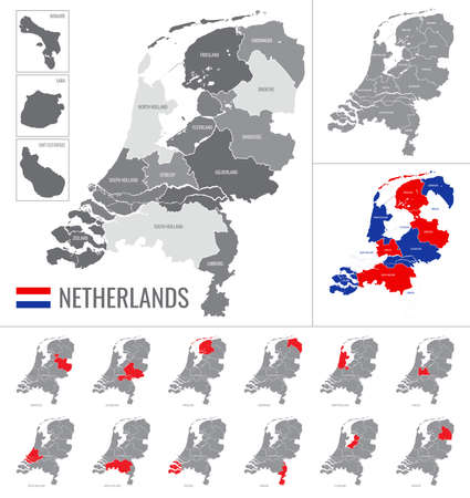 Detailed vector map of regions of Netherlands with flag Vectores