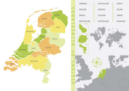 Detailed vector map of the Netherlands with administrative divisions into provinces and islands