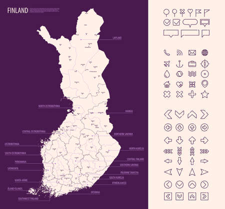 Detailed map of Finland with administrative divisions on a dark background, country big cities and icons set.