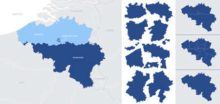 Detailed, vector, blue map of Belgium with administrative divisions into regions country