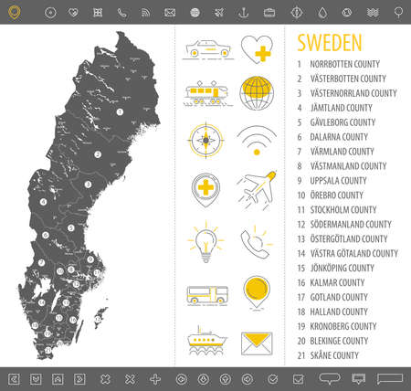 Detailed monochrome map of Sweden, gray country territory with geographic borders and administrative divisions on white background, travel icons set, vector illustration