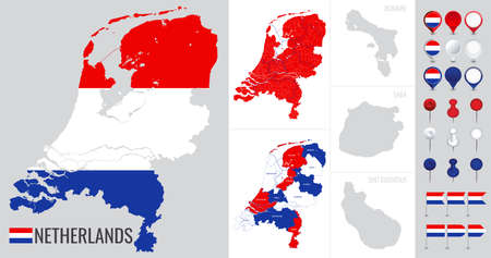 Netherlands vector map with flag, globe and icons on white background