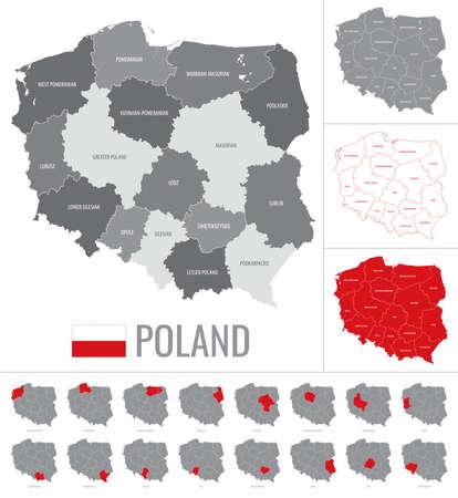 Vector map of Poland regions with flag on white background Ilustração
