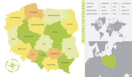 Detailed map of Poland with administrative divisions of the country, color vector illustration