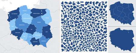 Detailed, vector, blue map of Poland with administrative divisions into regions country