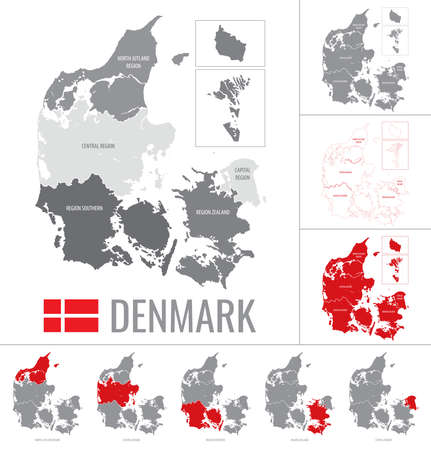 Vector map of Denmark regions with flag on white background