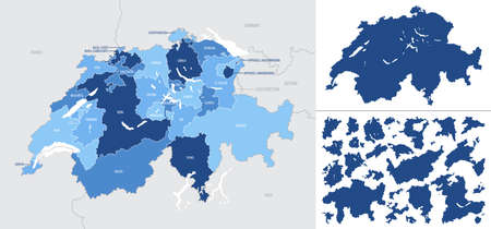 Detailed, vector, blue map of Switzerland with administrative divisions into regions country