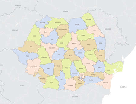 Detailed location map of the Romania in Europe with administrative divisions country, vector illustration