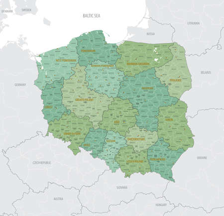 Detailed map of Poland with administrative divisions into 16 provinces (voivodeships) and counties (powiats), major cities of the country, vector illustration on white background
