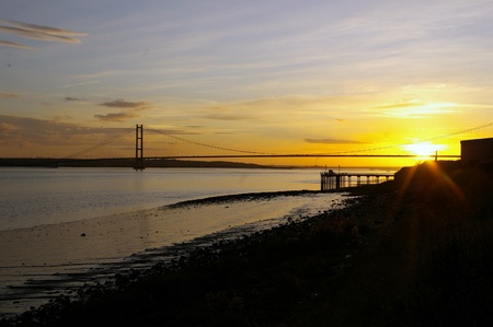 yorkshire and humber: Sunset over the Humber Stock Photo