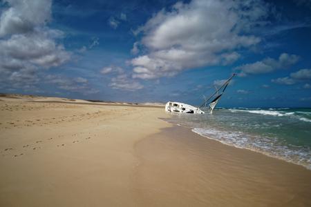 Island Boa Vista in Cape Verde, landscape - seaside with shipwreck of the sailing ship.