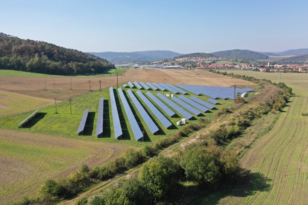 Solar Power Station (Fotovoltaic station) on the field in Europe.