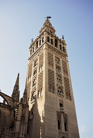 Giralda Famous Bell Tower Of The Seville Cathedral In Spanish Stock Photo Picture And Royalty Free Image 68224563