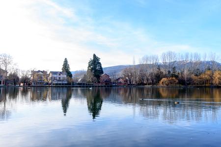 Lake in the Schierbeck Park , Puigcerda in Cerdanya, Girona, Catalunya, Spain.