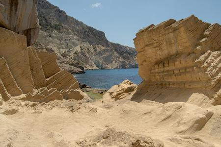 Stone quarries Atlantis, Ibiza, Balearic Islands, Spain Archivio Fotografico - 104660726