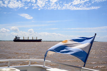 Flag of Argentina in the River Plate.