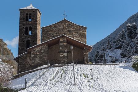 Snow in Sant Joan de Caselles Church in Canillo. Andorra la Vella, Andorra. 写真素材